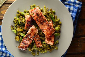 Simple oven baked Salmon with Green Vegetables
