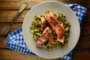 Simple oven baked Salmon with Green Vegetables top view