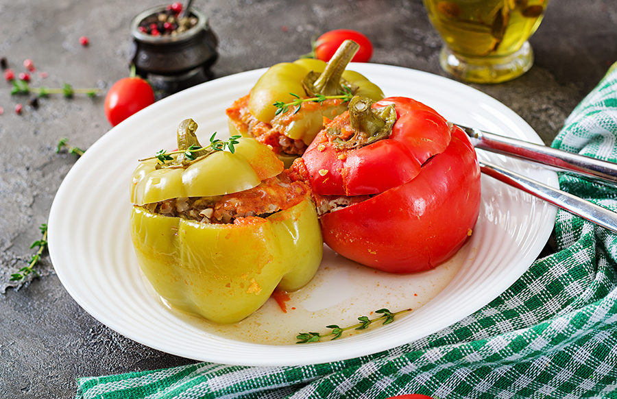 Bell Peppers Stuffed with Buckwheat and Almonds